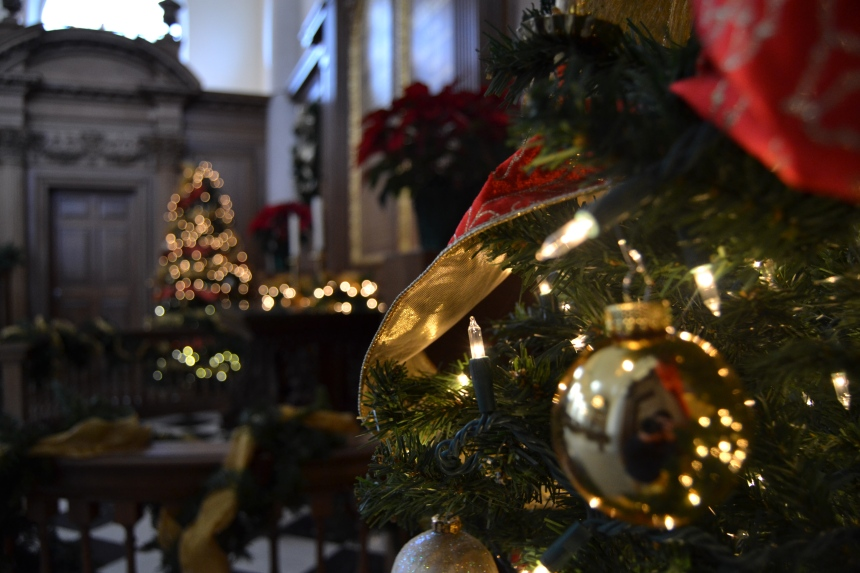 Christmas trees in the Church of St. Mary the Virgin, Aldermanbury.  PHOTO BY VERONICA TUTHILL