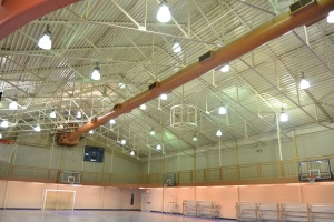 If a new sustainability proposal is approved, lights in HAC gym will be replaced with more environmentally efficient ones.  PHOTO BY STEVEN TUTHILL