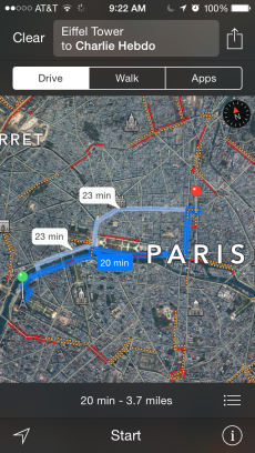 The green dot represents the Eiffel Tower where Sydney and her Sister were during the Charlie Hebdo attack. The red dot is the Charlie Hebdo office. Sidney said she did not notice any differences in the Parisian atmosphere.