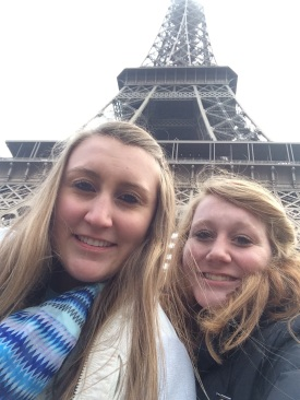 Sydney Sexton and her sister Delaney at the Eiffel Tower the day of the Charlie Hebdo attack.