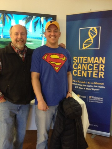 Dr. Bob Hansen and his son Matt, who was diagnosed with Acute Myeloid Leukemia in July, 2014. After months of chemotherapy and a bone marrow transplant, Matt Hansen is recovering. PHOTO COURTESY OF DR BOB HANSEN