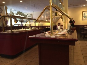 Two of the buffet tables. They are conveniently located in the middle of the restaurant and are easily accessible from all booths and tables. Also, it was not very busy, but the food was fresh.