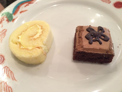 Two of the dessert options offered on the buffet. The left is a vanilla dessert option while the right is chocolate.