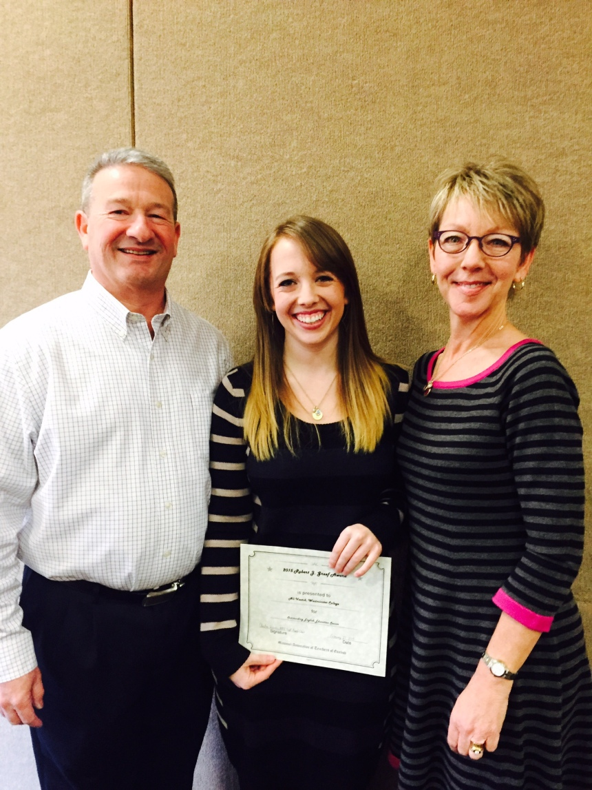 Ali Veatch with her parents after accepting her Robert J. Greef award for excellence in English Education.  PHOTO COURTESY OF ALI VEATCH
