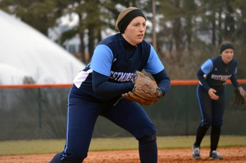 Sophomore Anne Baker was 2-for-8 at the plate for the Blue Jays over the weekend. PHOTO COURTESY OF WESTMINSTER ATHLETICS