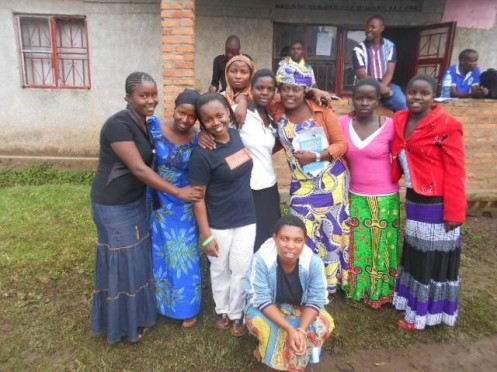 Mahoro (third from left) teaching girls to stand strong against the trials of adversity.