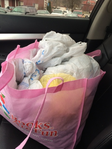 The bag of hundreds of plastic bags that Kate Sanchez collected to recycle instead of throwing away. PHOTO CREDIT KATE SANCHEZ