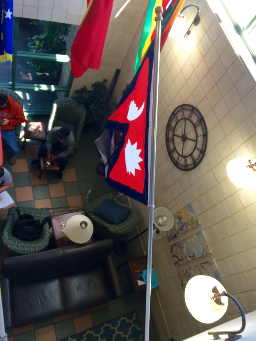 Nepal's flag hangs in JCI to represent the many students from Nepal on Westminster's campus. PHOTO BY SYDNEY SEXTON.