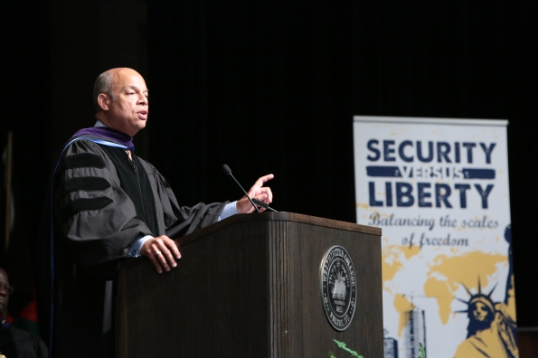 Jeh Johnson gives his Green Foundation address in Champ Auditorium. PHOTO COURTESY OF WESTMINSTER COLLEGE.