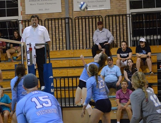 Sophomore Natalie Corrigan goes up for a spike during the Fall Frenzy at Milliken University on Sept. 18. PHOTO COURTESY OF WESTMINSTER ATHLETICS.