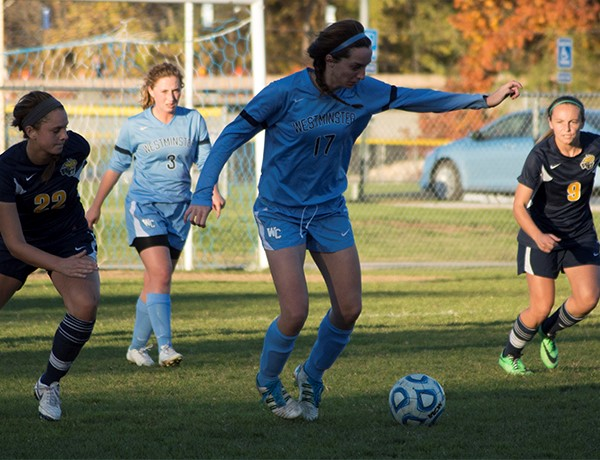 Senior Eileen Koppy dribbles the ball against Lakeland College. The Blue Jays went on to win the game 9-0. PHOTO COURTESY OF WESTMINSTER ATHLETICS.