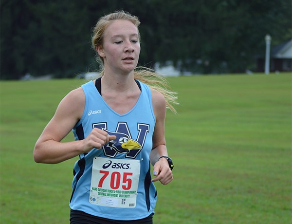 Freshman Jessie Kuykendall runs in the Illinois Invitational on Oct. 17 PHOTO COURTESY OF WESTMINSTER ATHLETICS.
