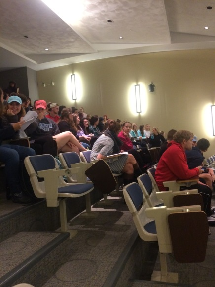 Students gathered in CSC lecture hall to hear Dr. Akande discuss the future of student life and to ask questions after Dean Krauth's resignation. PHOTO BY COURTNEY GALLAGHER.