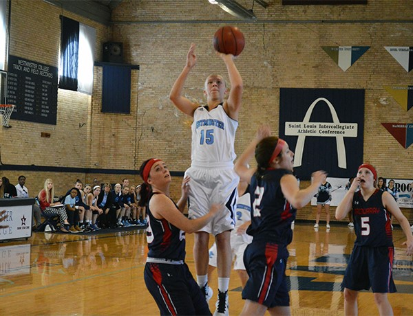 Payton Beeler, '18, goes up for a shot during a game against MacMurray College on Saturday, January 16. PHOTO COURTESY OF WESTMINSTER ATHLETICS.