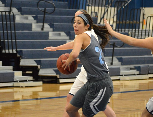 Andrea Zalis, '17, drives to the basket in a game against Principia College on Jan. 19. PHOTO COURTESY OF WESTMINSTER ATHLETICS.