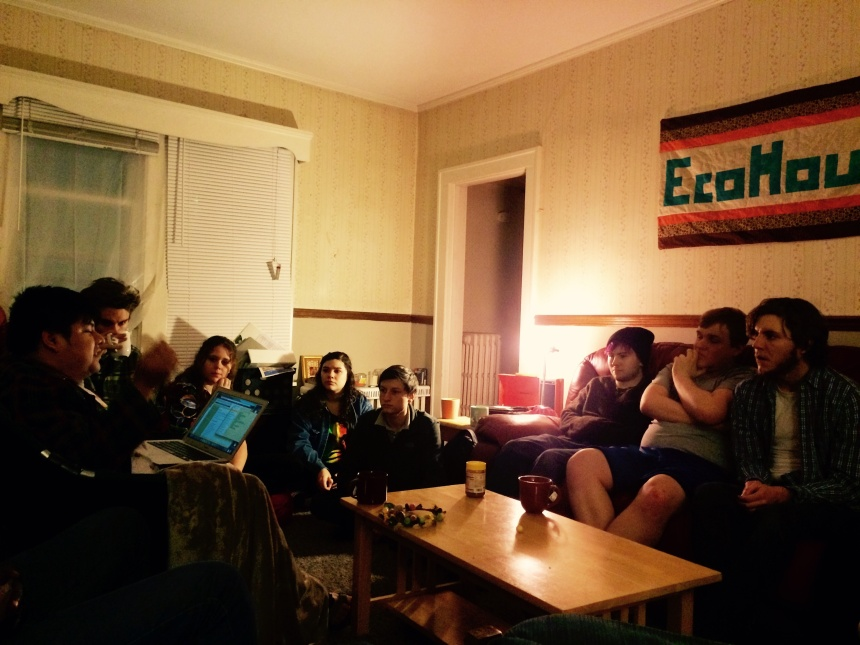 Members of Environmentally Concerned Students gather at EcoHouse for their weekly meeting. PHOTO BY STEFANIE EGGLESTON.