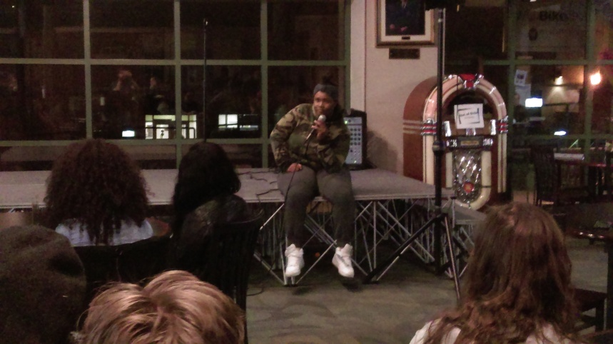 Hannah Macon, '19, shares her experience as a black woman at Thursday's Coffeehouse.