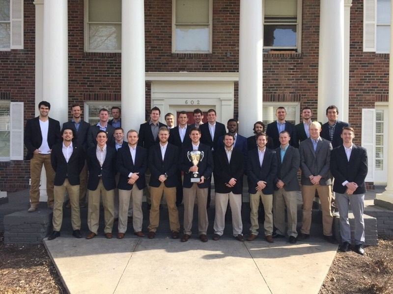 Westminster's Alpha Eta chapter of Kappa Alpha Order with one of the awards. PHOTO COURTESY OF ALPHA ETA.