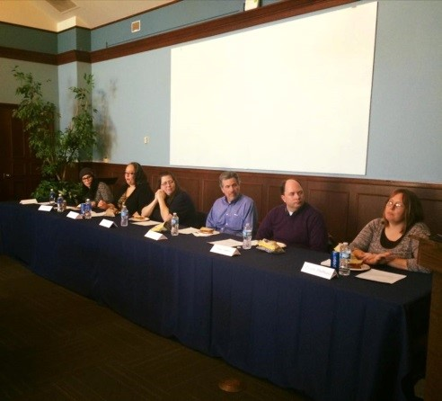 Panel discussing community service in Hermann Lounge. PHOTO COURTESY OF WESTMINSTER SPIRITUAL LIFE.