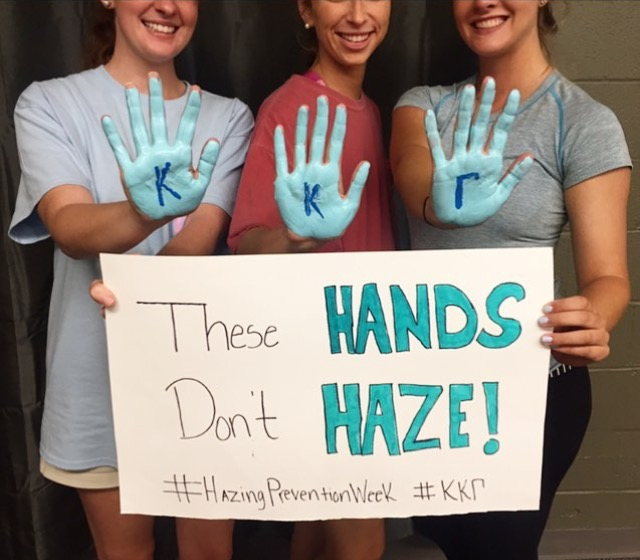 Members of Kappa Kappa Gamma show their support for National Hazing Prevention Week. PHOTO BY