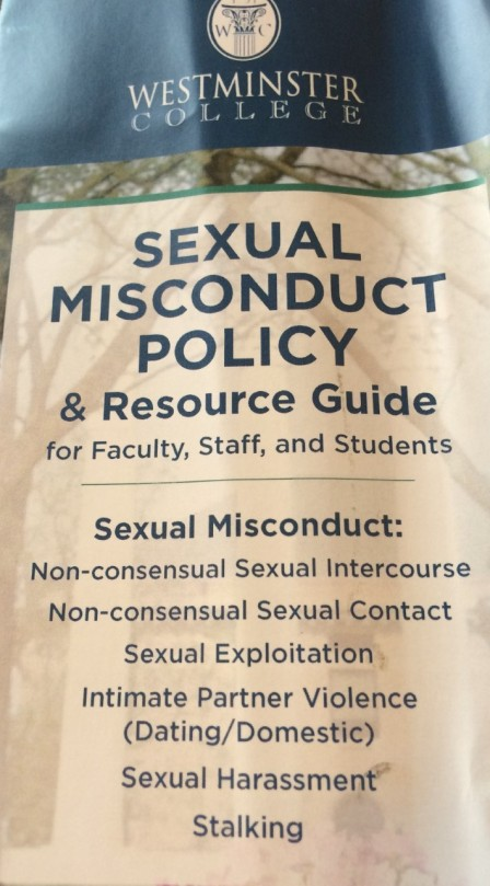 Sexual Misconduct Policy and Resource Guides were distributed after the discussion. The complete policy can be found in the Student Handbook.