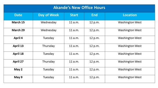 Akande Office Hours Table
